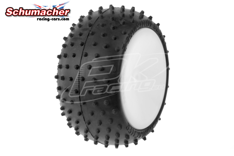 Schumacher - U6794 - Buggy 1/10 Tires - Mini Spike 2 - Rear 4WD - Yellow Compound - Glued on Rims - 1 Pair