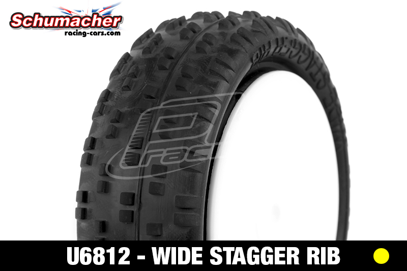 Schumacher - U6812 - Buggy 1/10 Tires - Wide Stagger - Front 4WD - Silver Compound - Glued on Rims - 1 Pair