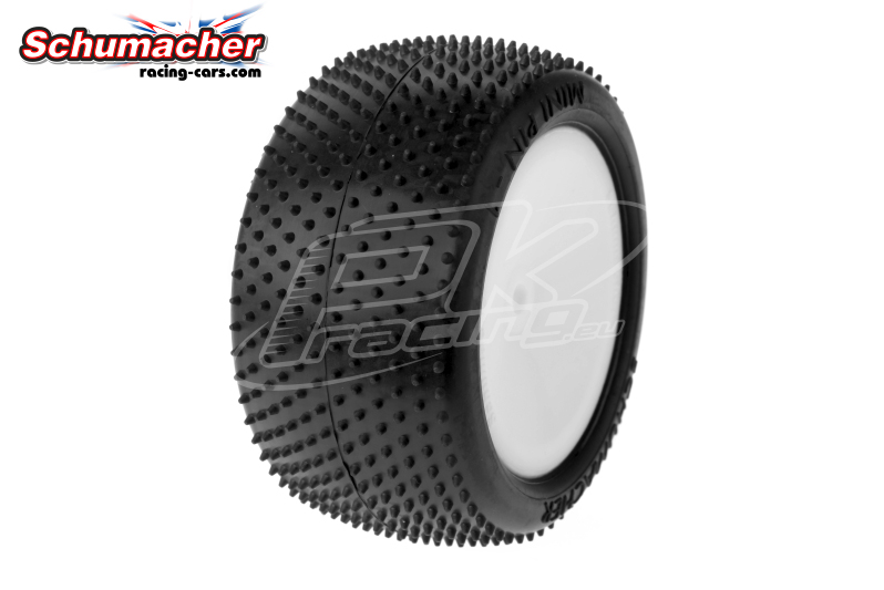 Schumacher - U6818 - Buggy 1/10 Tires - Mini Pin 1 - Rear 2/4WD - Yellow Compound - Glued on Rims - 1 Pair