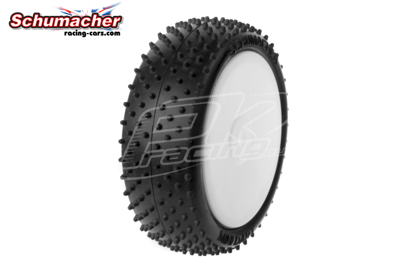 Schumacher - U6834 - Buggy 1/10 Tires - Mini Dart - Front 4WD - Yellow Compound - Glued on Rims - 1 Pair