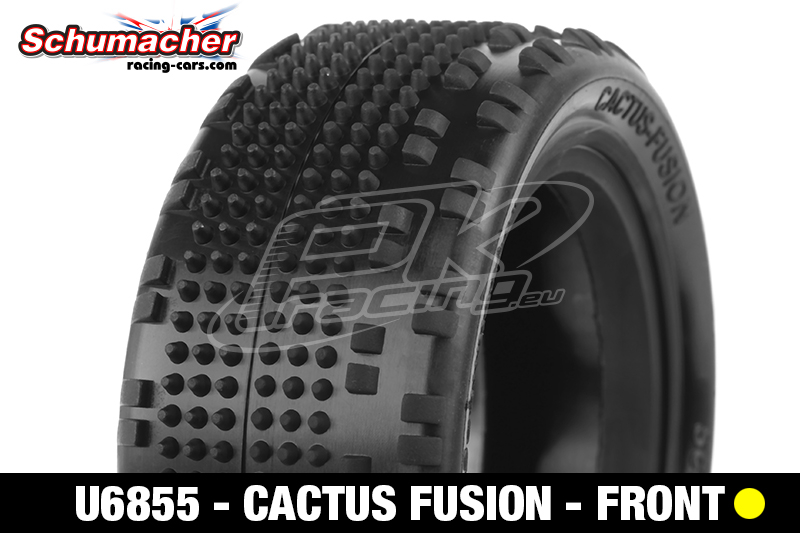 Schumacher - U6855 - Buggy 1/10 Tires - Cactus Fusion - Front 4WD - Yellow Compound - 1 Pair