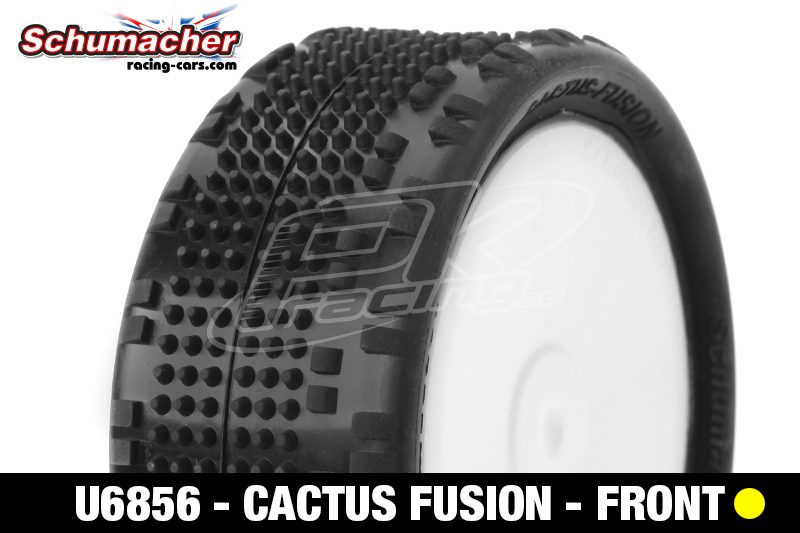 Schumacher - U6856 - Buggy 1/10 Tires - Cactus Fusion - Front 4WD - Yellow Compound - Glued on Rims - 1 Pair