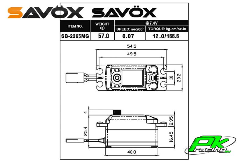 Savox - Servo - SB-2265MG - Digital - High Voltage - Brushless Motor - Metal Gears