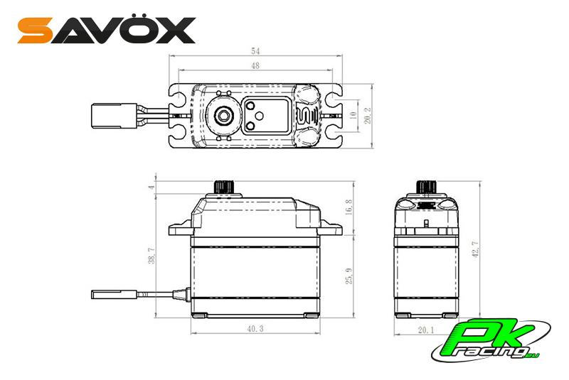 Savox - SB-2270SG - Digital Servo - High Voltage - Brushless Motor - Steel Gears