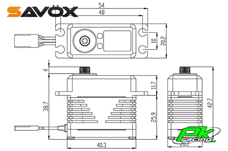 Savox - SB-2284SG - Digital Servo - High Voltage - Brushless Motor - Steel Gear