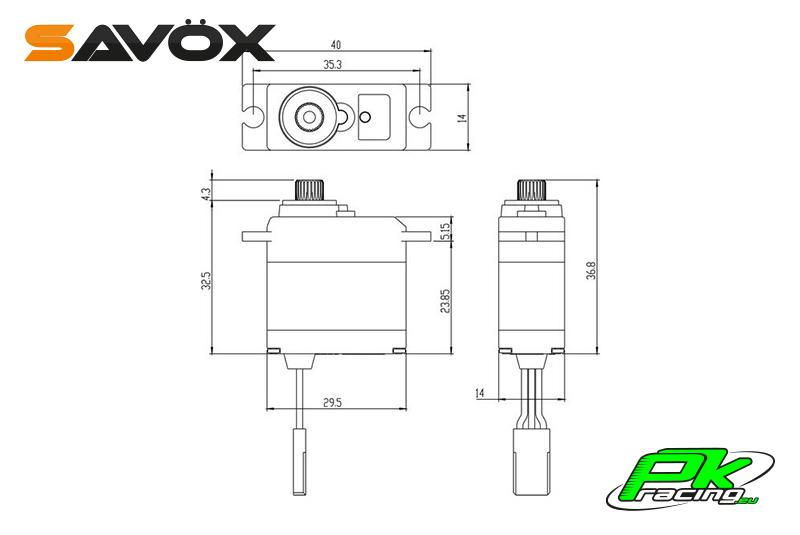 Savox - SW-0250MG - Digital Servo - DC Motor - Waterproof - Metal Gear