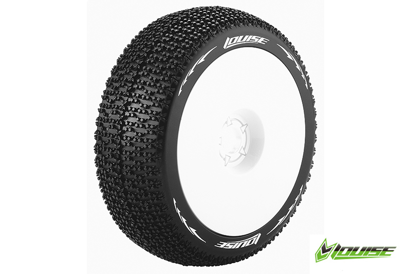 Louise RC - L-T3100VW - B-MAGLEV - 1-8 Buggy Tire Set - Mounted - Super Soft - White Rims - Hex 17mm - 1 Pair
