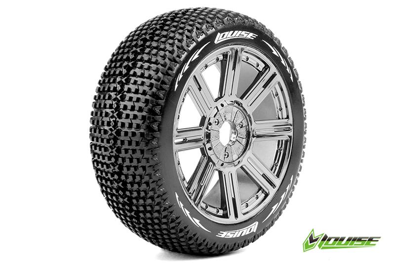 Louise RC - L-T3104SBC - B-TURBO - 1-8 Buggy Tire Set - Mounted - Soft - Black-Chrome Spoke Rims - Hex 17mm - 1 Pair