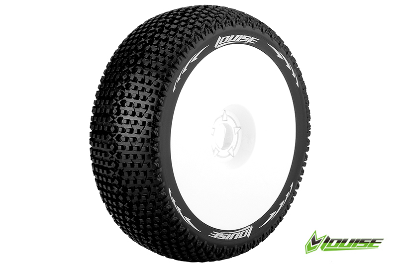 Louise RC - L-T3104VW - B-TURBO - 1-8 Buggy Tire Set - Mounted - Super Soft - White Rims - Hex 17mm - 1 Pair