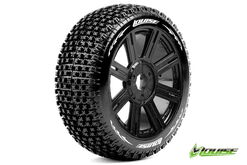 Louise RC - L-T3126SB - B-PIRATE - 1-8 Buggy Tire Set - Mounted - Soft - Black Spoke Rims - Hex 17mm - 1 Pair