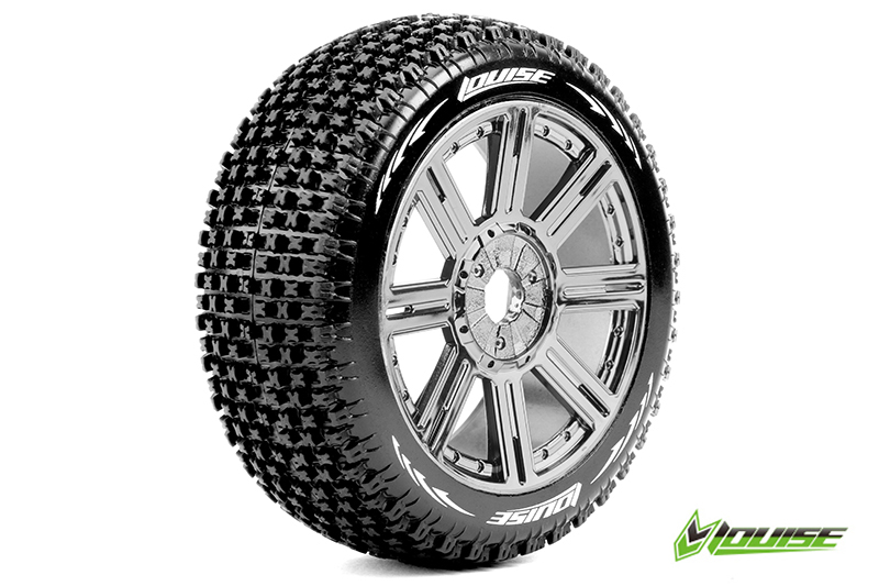 Louise RC - L-T3126SBC - B-PIRATE - 1-8 Buggy Tire Set - Mounted - Soft - Black-Chrome Spoke Rims - Hex 17mm - 1 Pair