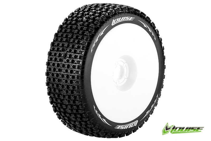 Louise RC - L-T3126VW - B-PIRATE - 1-8 Buggy Tire Set - Mounted - Super Soft - White Rims - Hex 17mm - 1 Pair