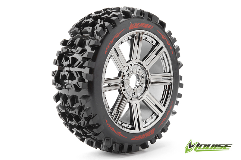 Louise RC - L-T3130SBC - B-PIONEER - 1-8 Buggy Tire Set - Mounted - Soft - Black-Chrome Spoke Rims - Hex 17mm - 1 Pair