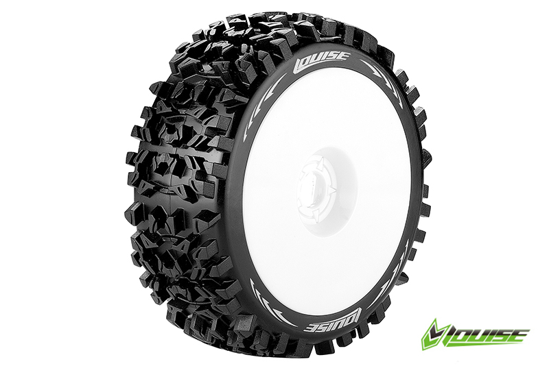 Louise RC - L-T3130SW - B-PIONEER - 1-8 Buggy Tire Set - Mounted - Soft - White Rims - Hex 17mm - 1 Pair
