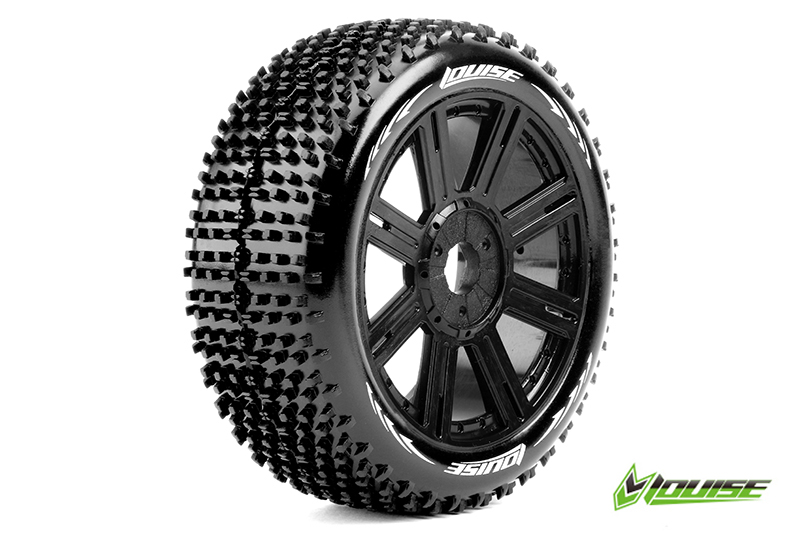 Louise RC - L-T3150SB - B-HORNET - 1-8 Buggy Tire Set - Mounted - Soft - Black Spoke Rims - Hex 17mm - 1 Pair