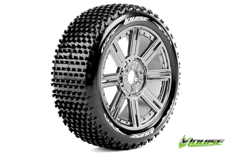 Louise RC - L-T3150SBC - B-HORNET - 1-8 Buggy Tire Set - Mounted - Soft - Black-Chrome Spoke Rims - Hex 17mm - 1 Pair