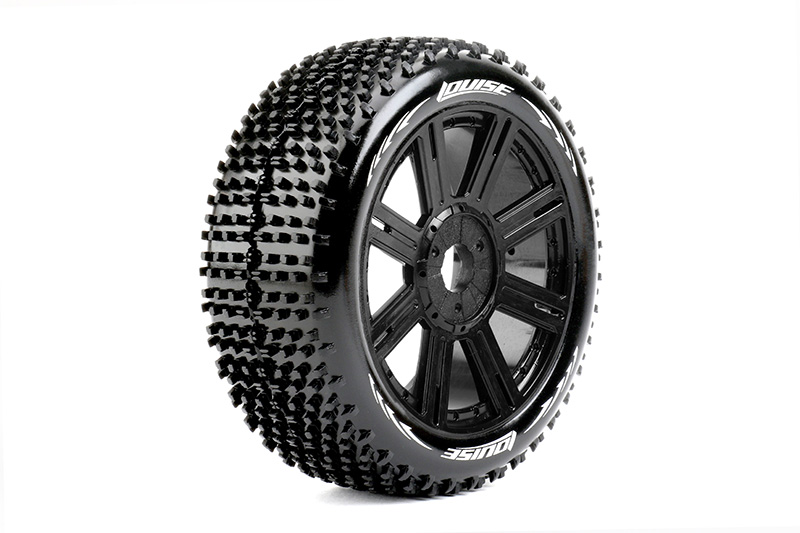 Louise RC - L-T3150VB - B-HORNET - 1-8 Buggy Tire Set - Mounted - Super Soft - Black Spoke Rims - Hex 17mm - 1 Pair