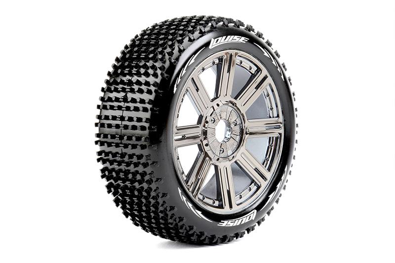 Louise RC - L-T3150VBC - B-HORNET - 1-8 Buggy Tire Set - Mounted - Super Soft - Black-Chrome Spoke Rims - Hex 17mm - 1 Pair