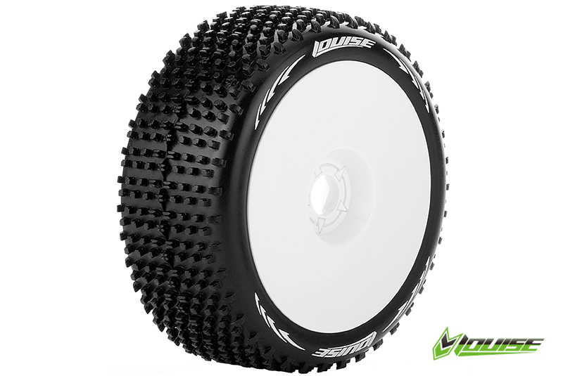 Louise RC - L-T3150VW - B-HORNET - 1-8 Buggy Tire Set - Mounted - Super Soft - White Rims - Hex 17mm - 1 Pair