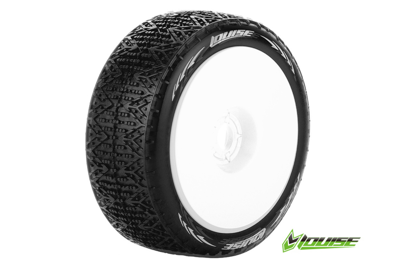 Louise RC - L-T3152SW - B-PHANTOM - 1-8 Buggy Tire Set - Mounted - Soft - White Rims - Hex 17mm - 1 Pair