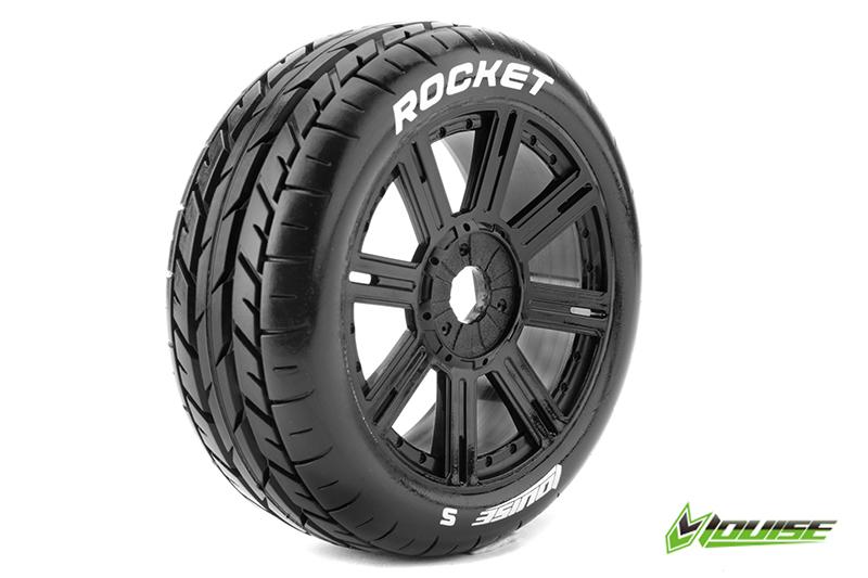 Louise RC - L-T3190SB - B-ROCKET - 1-8 Buggy Tire Set - Mounted - Soft - Black Spoke Rims - Hex 17mm - 1 Pair