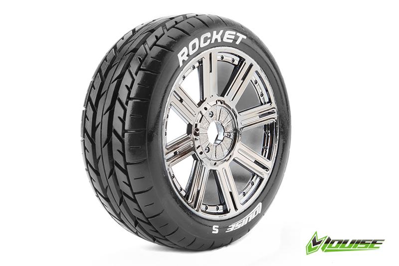 Louise RC - L-T3190SBC - B-ROCKET - 1-8 Buggy Tire Set - Mounted - Soft - Black-Chrome Spoke Rims - Hex 17mm - 1 Pair