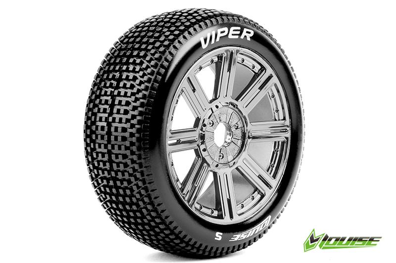 Louise RC - L-T3194SBC - B-VIPER-JA - 1-8 Buggy Tire Set - Mounted - Soft - Black-Chrome Spoke Rims - Hex 17mm - 1 Pair