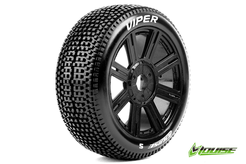Louise RC - L-T3194VB - B-VIPER-JA - 1-8 Buggy Tire Set - Mounted - Super Soft - Black Spoke Rims - Hex 17mm - 1 Pair