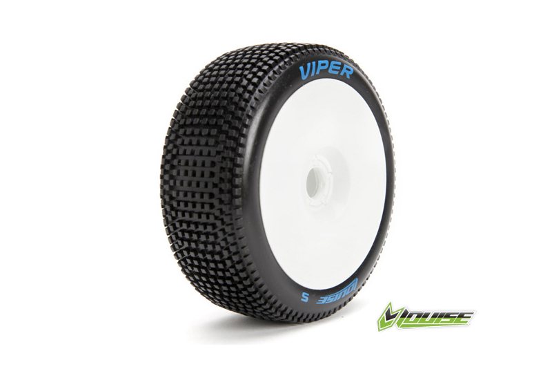 Louise RC - L-T3194VW - B-VIPER-JA - 1-8 Buggy Tire Set - Mounted - Super Soft - White Rims - Hex 17mm - 1 Pair
