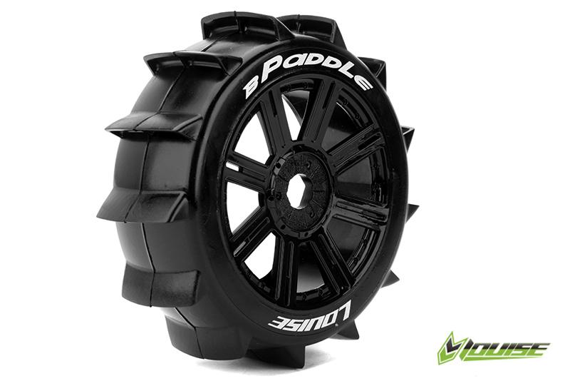 Louise RC - L-T3249SB - B-PADDLE - 1-8 Buggy Tire Set - Mounted - Soft - Black Spoke Rims - Hex 17mm - 1 Pair