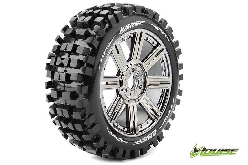 Louise RC - L-T324SBC - B-ULLDOZE - 1-8 Buggy Tire Set - Mounted - Soft - Black-Chrome Spoke Rims - Hex 17mm - 1 Pair