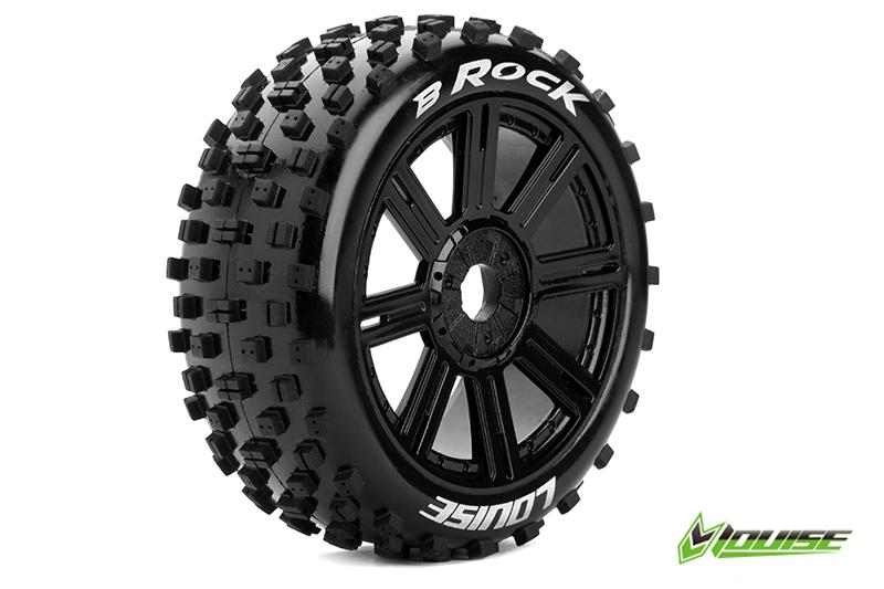 Louise RC - L-T3270SB - B-ROCK - 1-8 Buggy Tire Set - Mounted - Soft - Black Spoke Rims - Hex 17mm - 1 Pair