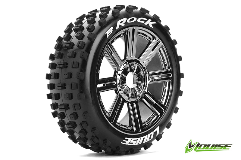 Louise RC - L-T3270SBC - B-ROCK - 1-8 Buggy Tire Set - Mounted - Soft - Black-Chrome Spoke Rims - Hex 17mm - 1 Pair