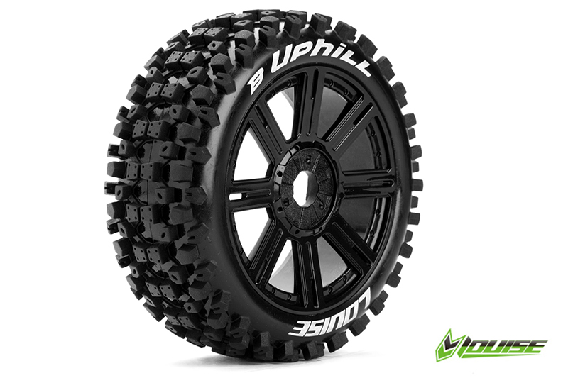 Louise RC - L-T3271SB - B-UPHILL - 1-8 Buggy Tire Set - Mounted - Soft - Black Spoke Rims - Hex 17mm - 1 Pair
