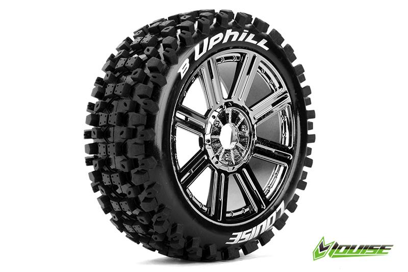 Louise RC - L-T3271SBC - B-UPHILL - 1-8 Buggy Tire Set - Mounted - Soft - Black-Chrome Spoke Rims - Hex 17mm - 1 Pair