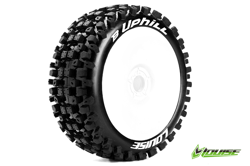 Louise RC - L-T3271SW - B-UPHILL - 1-8 Buggy Tire Set - Mounted - Soft - White Rims - Hex 17mm - 1 Pair