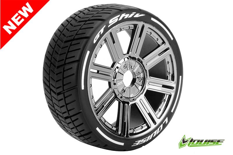 Louise RC - L-T3284SBC - GT-SHIV - MFT Technology - 1-8 Buggy Tire Set - Mounted - Soft  - Black-Chrome Spoke Rims - Hex 17mm - 1 Pair