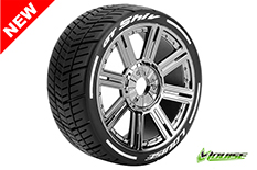 Louise RC - L-T3284SBC - GT-SHIV - MFT Technology - 1-8 Buggy Tire Set - Mounted - Soft  - Black-Chrome Spoke Rims - Hex 17mm - 1 Pair