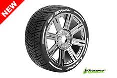 Louise RC - L-T3284VBC - GT-SHIV - MFT Technology - 1-8 Buggy Tire Set - Mounted - Super Soft  - Black-Chrome Spoke Rims - Hex 17mm - 1 Pair