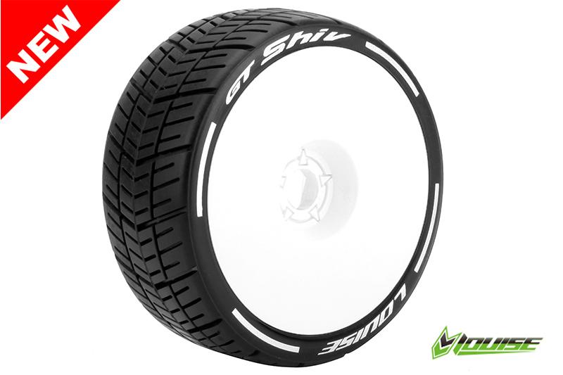 Louise RC - L-T3284VW - GT-SHIV - MFT Technology - 1-8 Buggy Tire Set - Mounted - Super Soft  - White Rims - Hex 17mm - 1 Pair