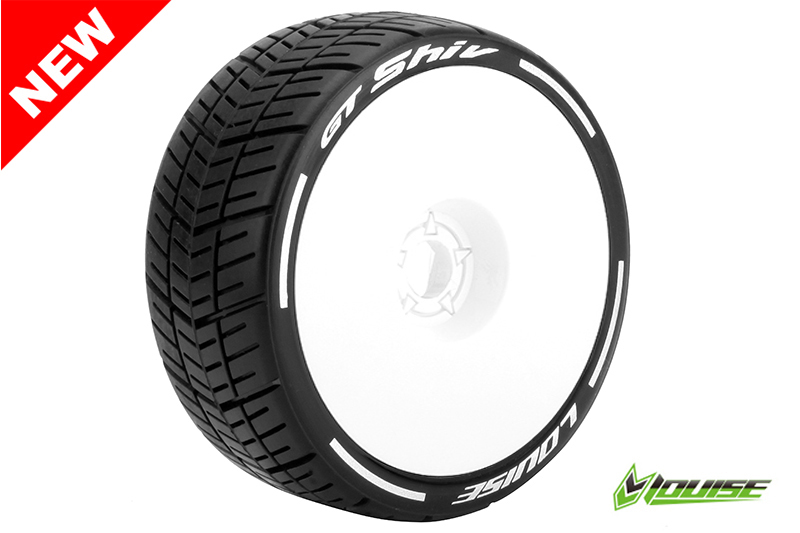 Louise RC - L-T3284VW - GT-SHIV - MFT Technology - 1-8 Buggy Tire Set - Mounted - Super Soft  - White Rims - Hex 17mm - 1 Pair