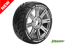 Louise RC - L-T3285SBC - GT-TARMAC - MFT Technology - 1-8 Buggy Tire Set - Mounted - Soft  - Black-Chrome Spoke Rims - Hex 17mm - 1 Pair