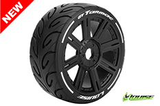 Louise RC - L-T3285SB - GT-TARMAC - MFT Technology - 1-8 Buggy Tire Set - Mounted - Soft  - Black Spoke Rims - Hex 17mm - 1 Pair