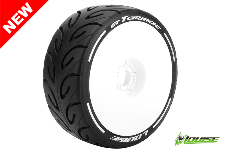 Louise RC - L-T3285SW - GT-TARMAC - MFT Technology - 1-8 Buggy Tire Set - Mounted - Soft  - White Rims - Hex 17mm - 1 Pair