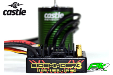 Castle - CC-010-0115-06 - SV-3 Sidewinder Waterproof - Combo - 1-10 Sport Car Controller with 1406-5700 Sensorless Motor