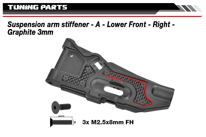 Team Corally - Suspension arm stiffener - A - Lower Front - Right - Graphite 3mm - 1 pc