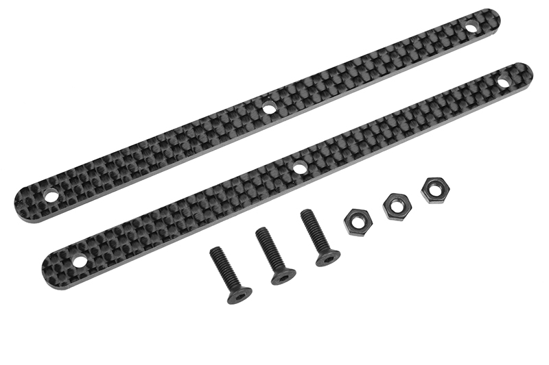 Team Corally - Chassis Brace Stiffener - Rear - fits part C-00180-103 - Graphite 2.5mm - 2 pcs