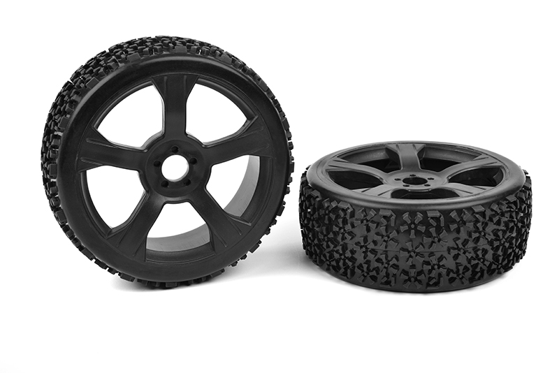 Team Corally - Off-Road 1/8 Buggy Tires - Ninja - Low Profile - Glued on Black Rims - 1 pair