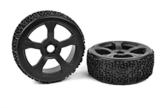 Team Corally - Off-Road 1/8 Buggy Tires - Ninja - Low Profile - Glued on Black Rims - 1 pair
