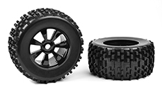 Team Corally - Off-Road 1/8 Monster Truck Tires - Gripper - Glued on Black Rims - 1 pair